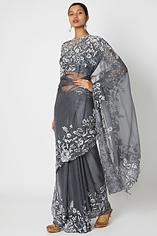Grey Floral Embroidered Saree Set by Manishii