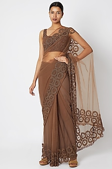 Brown Embroidered Saree Set by Manishii