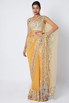 Yellow Hand Embroidered Saree Set by Manishii
