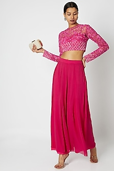 Fuchsia Floral Embroidered Crop Top with Trousers by Premya by Manishii