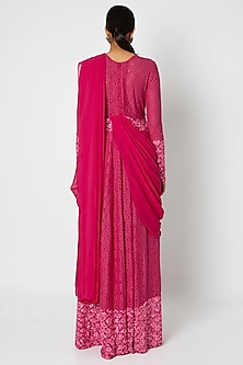 Fuchsia Embroidered Gown With Attached Dupatta by Manishii