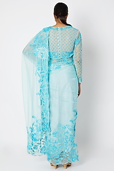 Sky Blue Embroidered Saree Set by Manishii