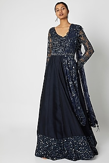 Midnight Blue Embroidered Anarkali With Dupatta & Belt by Premya by Manishii
