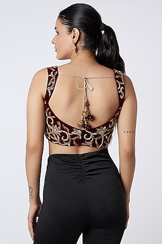 Maroon Embroidered Blouse by Premya by Manishii