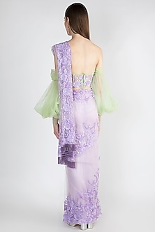 Purple Embroidered Tulle Saree Set by Manishii