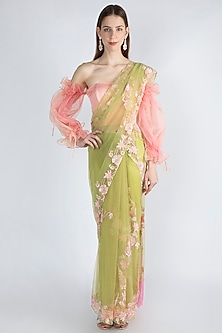 Lime Green & Blush Pink Embroidered Saree Set by Manishii