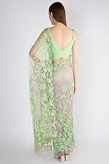 Lavender & Mint Green Embroidered Tulle Saree Set by Manishii