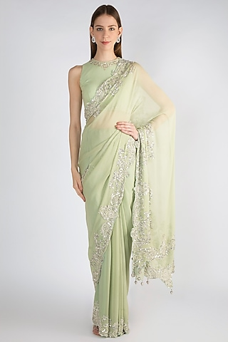 Mint Green Embroidered Georgette Saree Set by Premya by Manishii