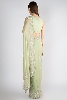 Mint Green Embroidered Georgette Saree Set by Manishii