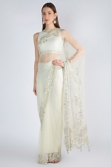 Pastel Mint Green Embroidered Saree Set by Manishii