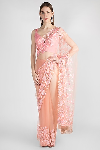 Blush Pink Embroidered Tulle Saree Set by Manishii