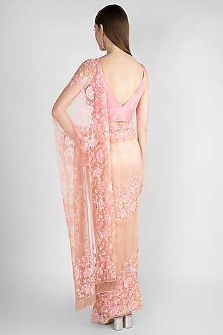 Blush Pink Embroidered Tulle Saree Set by Premya by Manishii