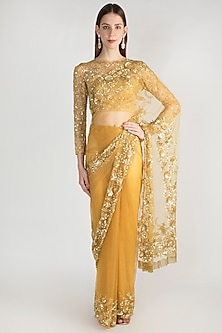 Golden Embroidered Tulle Saree Set by Premya by Manishii