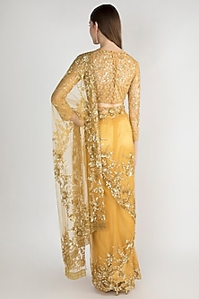 Golden Embroidered Tulle Saree Set by Manishii