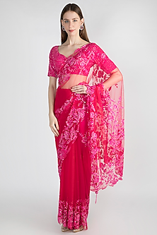 Fuchsia Embroidered Polyester Saree Set by Manishii