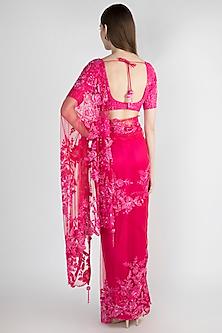 Fuchsia Embroidered Polyester Saree Set by Manishii