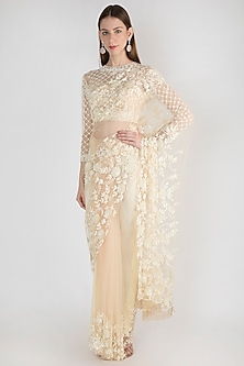 Ivory Embroidered Polyester Saree Set by Manishii