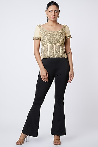 Beige Embroidered Corset Top by Premya by Manishii
