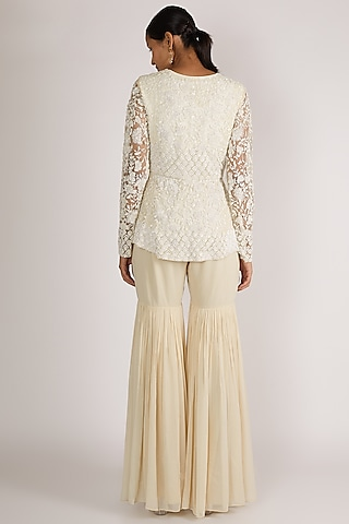 White Embroidered Jacket Set by Premya By Manishii