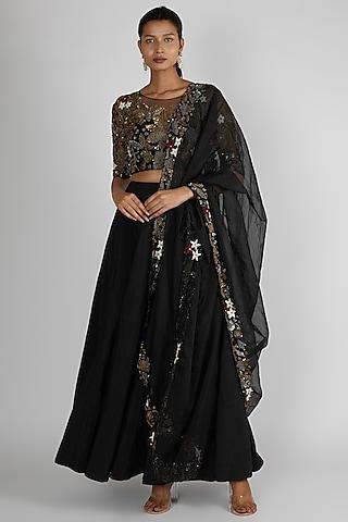 Black Embroidered Lehenga Set by Premya By Manishii
