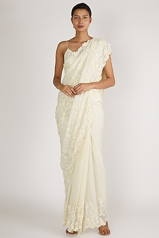 White Embroidered Saree Set by Premya By Manishii