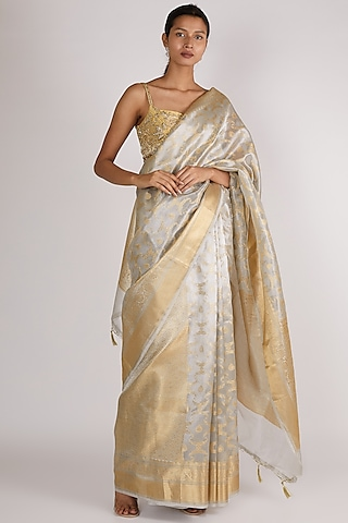 Silver Embroidered Saree Set by Premya By Manishii