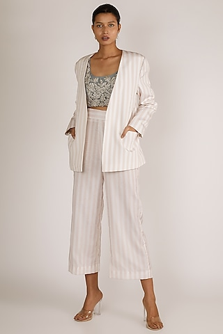 Nude Embroidered Pant Set by Premya By Manishii