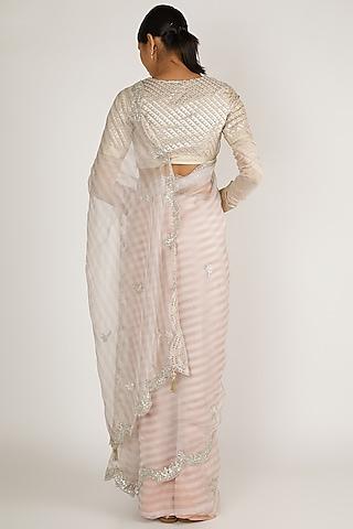 Silver Gota Patti Embroidered Saree Set by Premya By Manishii