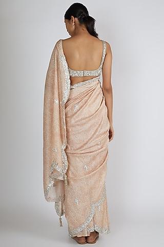 Silver Zardosi Embroidered Saree Set by Premya By Manishii