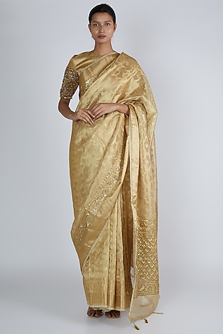 Gold Embroidered Saree Set by Premya By Manishii
