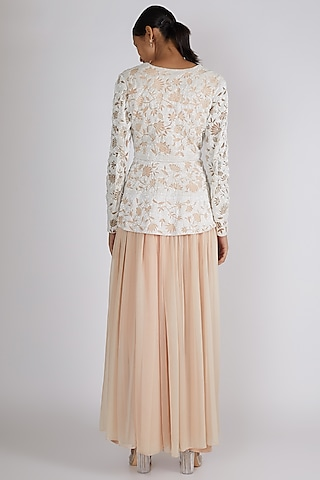 Nude Embroidered Jacket Set by Premya By Manishii