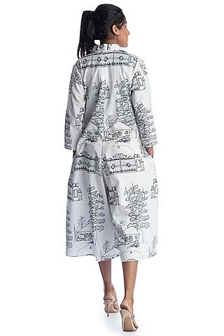 White Printed Jumpsuit by Studio Moda India