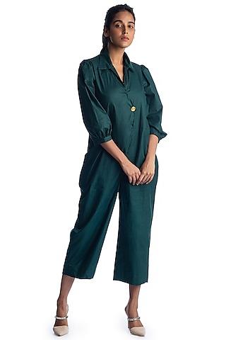 Bottle Green Cotton Jumpsuit by Studio Moda India