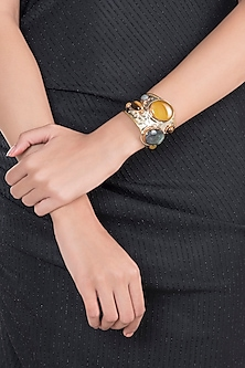 Gold & White Gold Plated Handmade Tigers Eye With Black Onyx Stone Cuff by Mona Shroff Jewellery