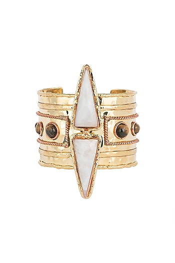 Gold Plated Handmade Moonstone & Tiger Eye Stone Cuff by Mona Shroff Jewellery