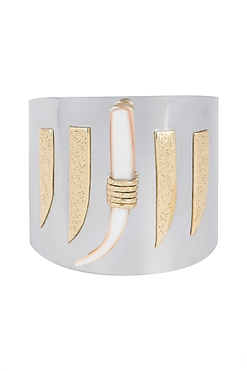 Gold Plated Handmade Moonstone & Pearl Cuff by Mona Shroff Jewellery
