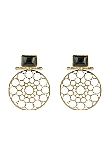 Gold Plated Handmade Black Onyx Stone Carved Earrings by Mona Shroff Jewellery