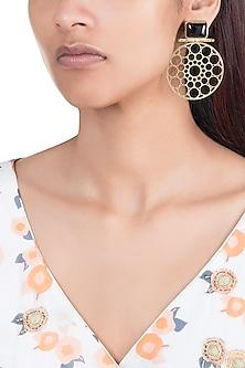 Gold Plated Handmade Black Onyx Stone Carved Earrings by Mona Shroff Jewellery