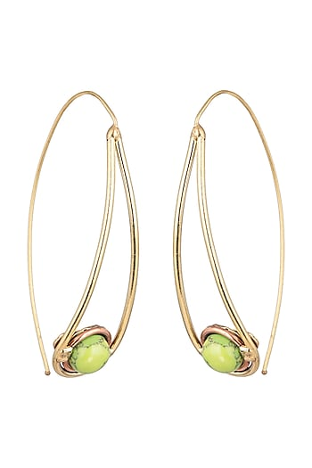 Gold Plated Handmade Turquoise Green Stone Hoop Earrings by Mona Shroff Jewellery