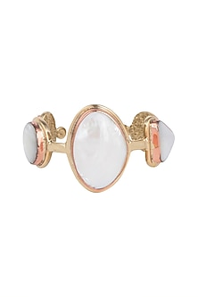 Gold Plated Handmade Mother Of Pearl Cuff by Mona Shroff Jewellery