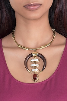 Gold Plated Handmade Ruby & Moonstone Pearl Teak Wood Necklace by Mona Shroff Jewellery