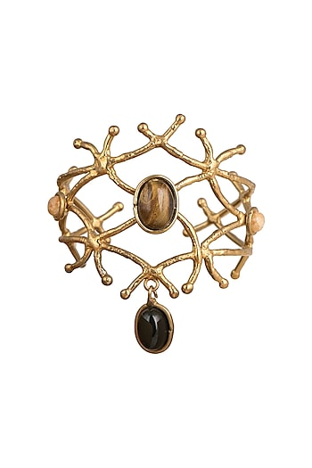 Gold Plated Handmade Tiger's Eye & Black Onyx Stone Cuff by Mona Shroff Jewellery