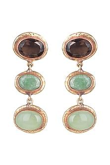 Gold Plated Handmade Tiger's Eye, Jade & Emerald Stone Earrings by Mona Shroff Jewellery