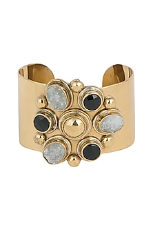 Gold Plated Handmade White Druzy & Black Onyx Stone Cuff by Mona Shroff Jewellery