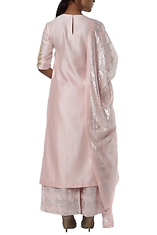 Pearl pink embroidered kurta with printed palazzo and dupatta by Masaba
