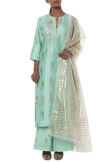 Mint blue rabbit embroidered kurta and palazzo with ivory dupatta by Masaba