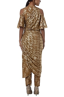 Nude printed cold shoulder wrap dress with pants by Masaba