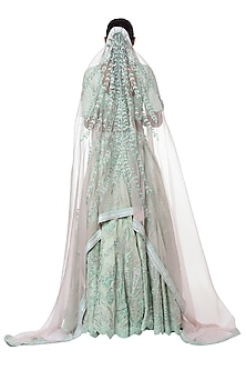 Mint blue embroidered lehenga set by Masaba