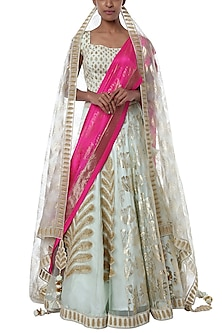 Mint blue half and half embroidered lehenga set by Masaba