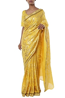 Yellow printed saree with blouse piece by Masaba